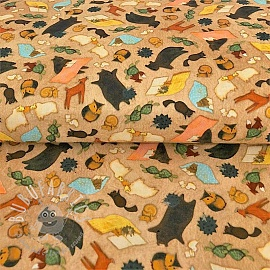 Cotton fabric READING TOGETHER Animal toss tan