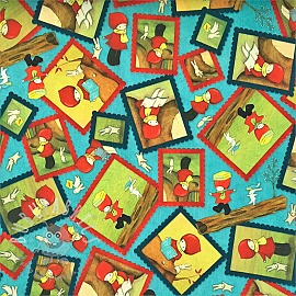 Cotton fabric READING TOGETHER Poppi loves character toss blue