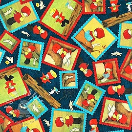 Cotton fabric READING TOGETHER Poppi loves character toss navy