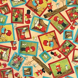 Cotton fabric READING TOGETHER Poppi loves character toss tan
