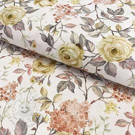Cotton fabric Roseto dore digital print