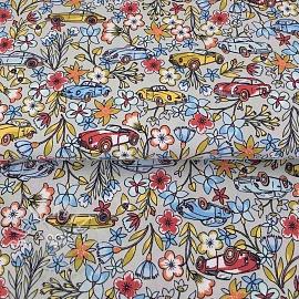 Cotton fabric Ruta de las flores sand
