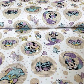 Cotton fabric Sea Minnie Minnie mermaid digital print
