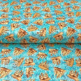 Cotton fabric SEA SERENADE Sandcastle aqua