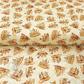 Cotton fabric SEA SERENADE Sandcastle cream