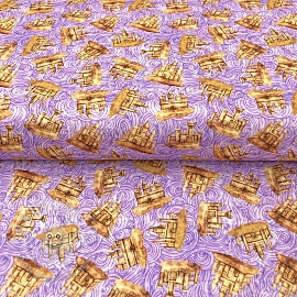 Cotton fabric SEA SERENADE Sandcastle lilac