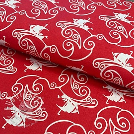 Cotton fabric Skibby ahoy red