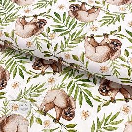 Cotton fabric Sloth digital print