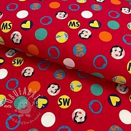 Cotton fabric Snow White medaillon red digital print