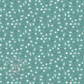 Cotton fabric SOFT Sweet bunny fresh sage