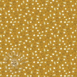 Cotton fabric SOFT Sweet bunny ochre