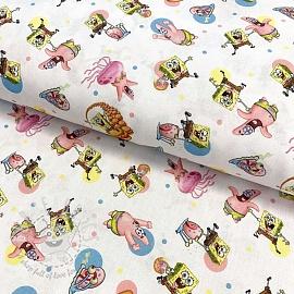 Cotton fabric SPONGEBOB Hamburger digital print