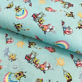 Cotton fabric SPONGEBOB Happy friends digital print