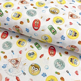 Cotton fabric SPONGEBOB Patches digital print