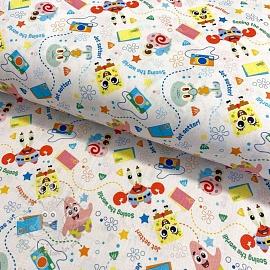 Cotton fabric SPONGEBOB Seeing the world digital print