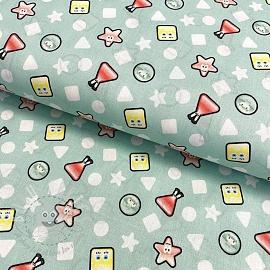 Cotton fabric SPONGEBOB Shapes digital print