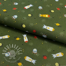 Cotton fabric Stripe and space forest green