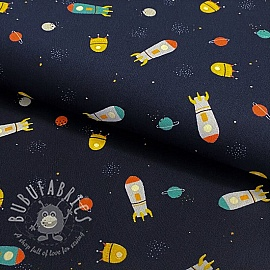 Cotton fabric Stripe and space navy