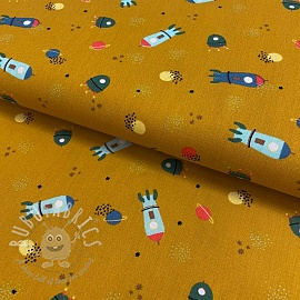 Cotton fabric Stripe and space ochre