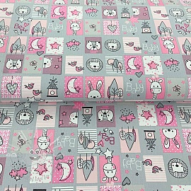 Cotton fabric Sweet animals patchwork grey