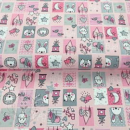 Cotton fabric Sweet animals patchwork pink