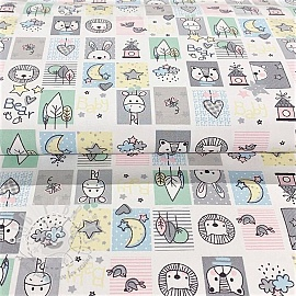 Cotton fabric Sweet animals patchwork white