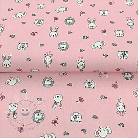 Cotton fabric Sweet animals pink