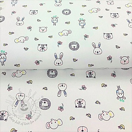 Cotton fabric Sweet animals white