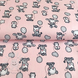 Cotton fabric Sweet balloons pink