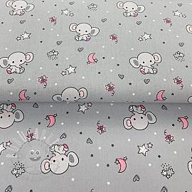 Cotton fabric Sweet elephant grey