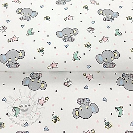 Cotton fabric Sweet elephant white