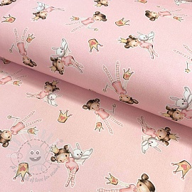 Cotton fabric The Princess pink digital print