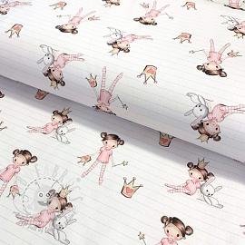 Cotton fabric The Princess white digital print