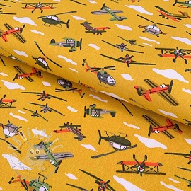 Cotton fabric The Sky is the limit yellow