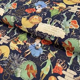 Cotton fabric The wonderful wizard of Oz black digital print