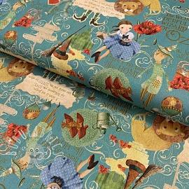 Cotton fabric The wonderful wizard of Oz blue digital print