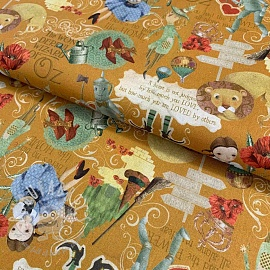 Cotton fabric The wonderful wizard of Oz ochre digital print