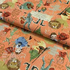 Cotton fabric The wonderful wizard of Oz peach digital print