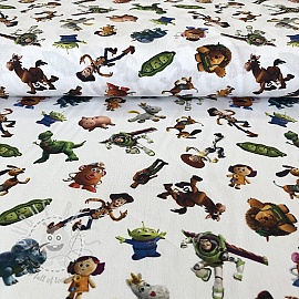 Cotton fabric Toy Story characters digital print