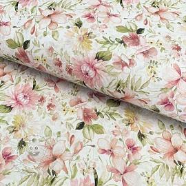 Cotton fabric Vivai flowers rosa digital print