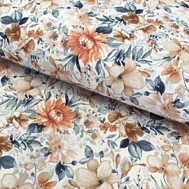 Cotton fabric Vivai flowers terracota digital print