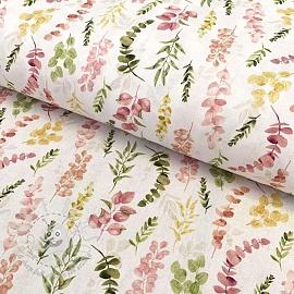 Cotton fabric Vivai leaves rosa digital print