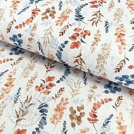 Cotton fabric Vivai leaves terracota digital print