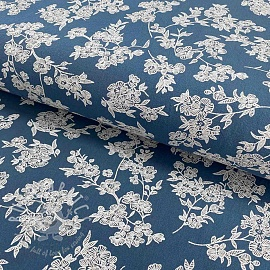 Cotton fabric Washed Flowers blue