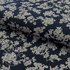 Cotton fabric Washed Flowers navy