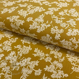 Cotton fabric Washed Flowers ochre