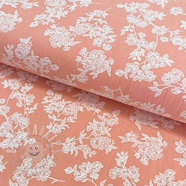 Cotton fabric Washed Flowers pink