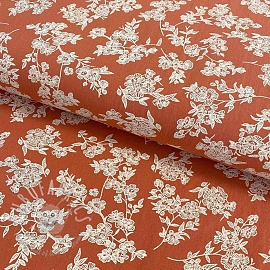 Cotton fabric Washed Flowers terra