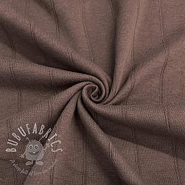 Cotton jersey INTERLOCK Stripe brown