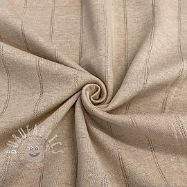 Cotton jersey INTERLOCK Stripe sand